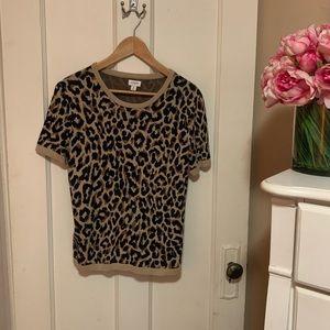 J. Crew Leopard Print Crew Neck Sweater